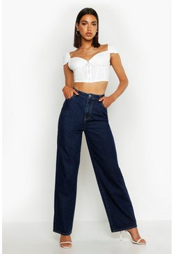 Womens Indigo High Rise Wide Leg Jeans