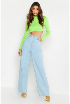 Womens Light blue High Rise Wide Leg Jeans