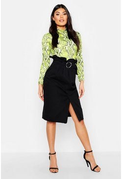 Womens Washed black Belted Ruched Waist Denim Midi Skirt
