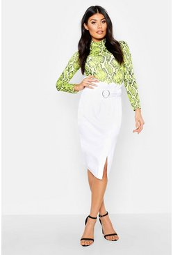 White Belted Ruched Waist Denim Midi Skirt