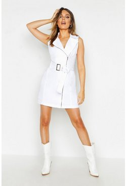 Womens White Sleeveless Belted Zip Denim Dress
