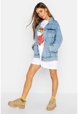 Dam Light blue Oversize jeansjacka