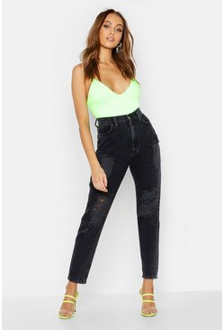 Womens Black Mid Rise Distressed Boyfriend Jean