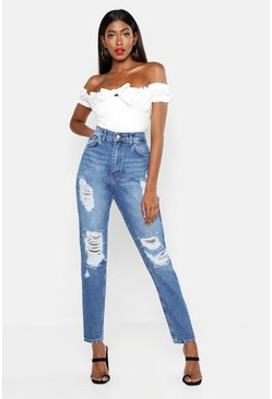 Boyfriend-Jeans im Destroyed-Look, Mittelblau, DAMEN