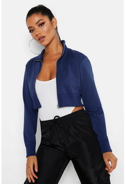 Womens Denim Cropped Zip Front Jacket