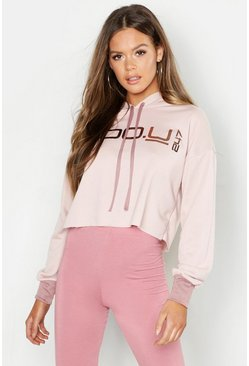 Womens Pink Boo U 247 Crop Hoodie With Contrast Cuff & Drawcord