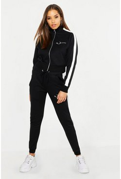 Womens Black Woman Embroidery Brushed Back Tracksuit