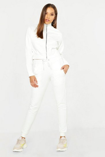 Womens Ecru Woman Embroidery Brushed Back Tracksuit