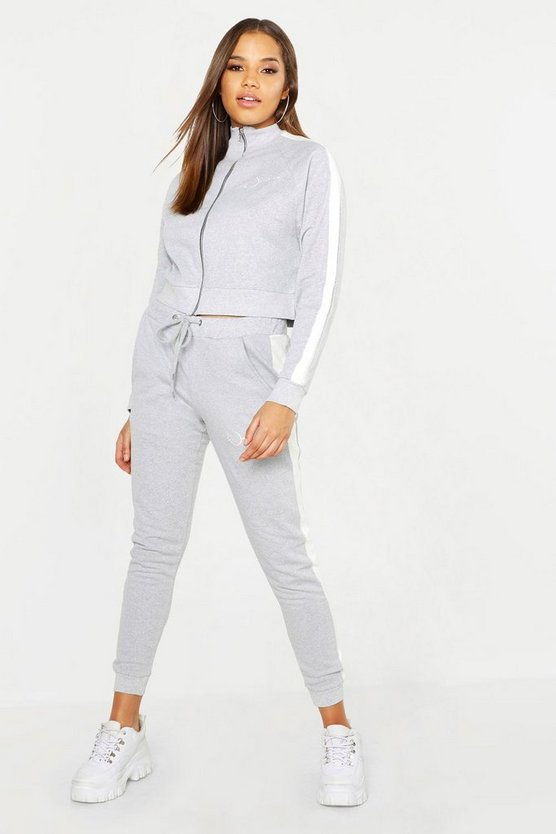 Womens Grey Woman Embroidery Brushed Back Tracksuit