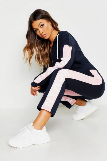 Womens Navy Colour Block Hooded Tracksuit