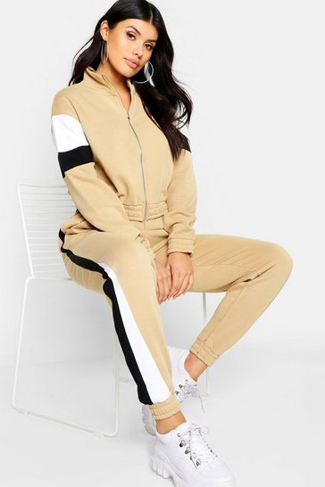 Womens Mocha Colour Block Tracksuit