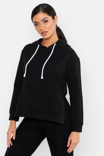 Womens Black Side Split Oversized Hoody