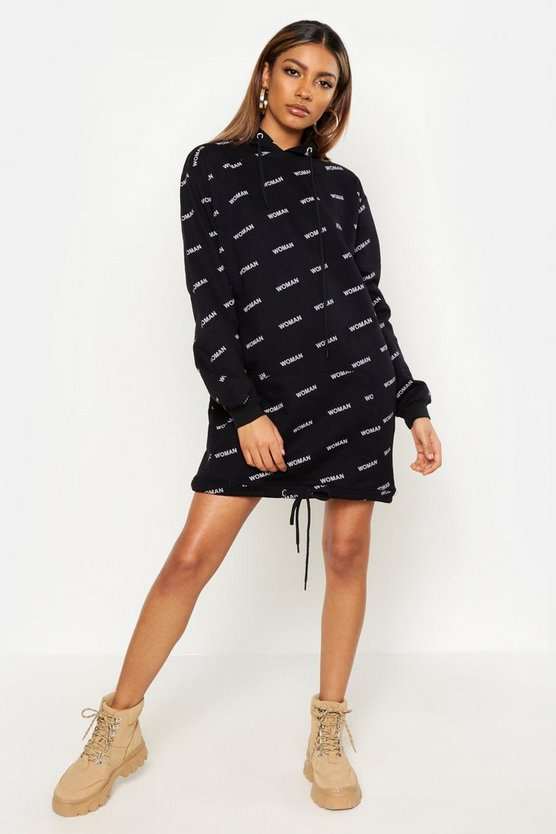 Womens Black All Over Woman Print Longline Oversize Hoody