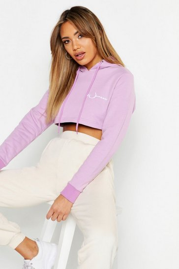 Womens Lilac Woman Embroidered Cropped Hoody