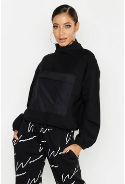 Womens Black Satin Detail Oversized Sweat