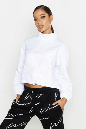 Womens White Satin Detail Oversized Sweat