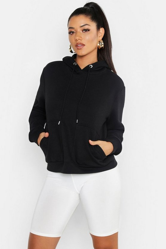 Womens Black Oversized Heavyweight Pocket Detail Hoody