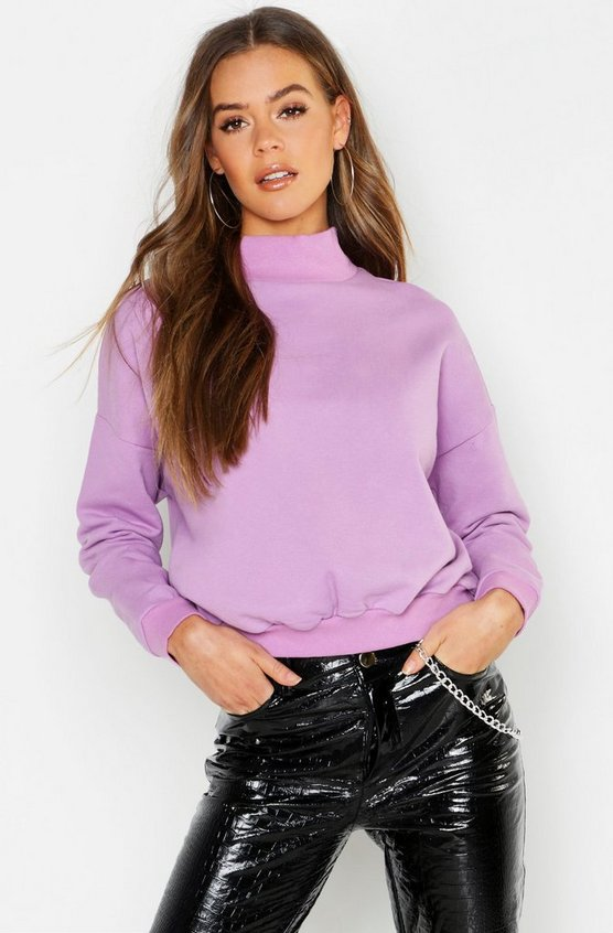 Funnel Neck Brush Back Sweater