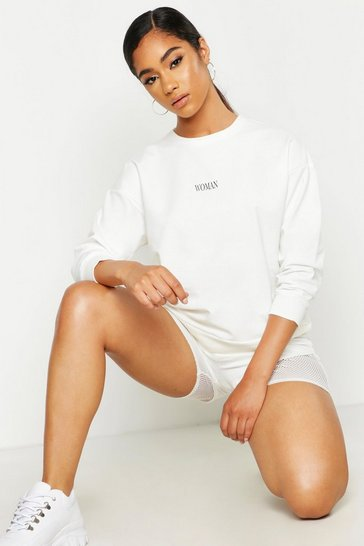 Womens Ecru Lightweight Seam Detail Slogan Sweat