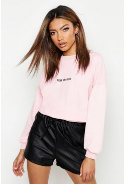 Womens Pink Embroidered Oversized Sweat