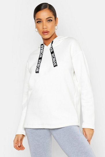 Womens Ecru Oversized Printed Drawcord Hoody