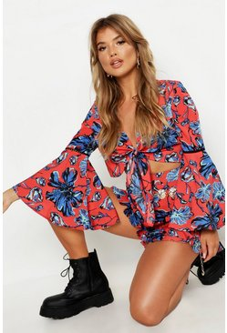 Red Floral Knot Front Short Co-Ord Set