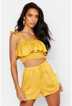 Womens Mustard Tie Strap Ruffle Detail Short Co-Ord Set