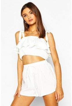 Womens White Tie Strap Ruffle Detail Short Co-Ord Set