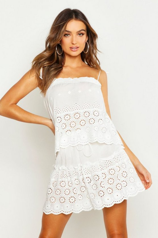 Womens Ivory Embroidered Swing Cami Skirt Co-Ord Set