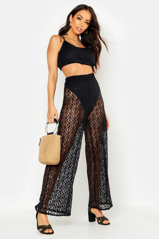 Womens Black Crochet Wide Leg Co-Ord Set