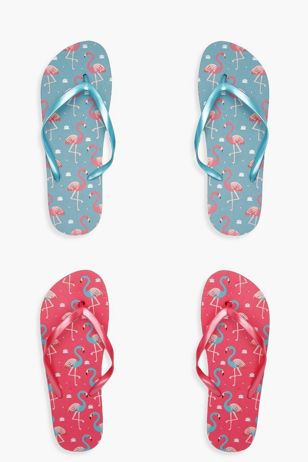 0b3764384 Womens Pink Flamingo Print 2 Pack Flip Flops