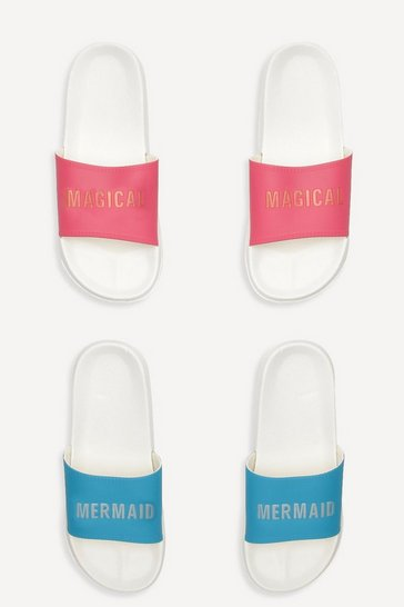 Womens Blue Slogan 2 Pack Pool Sliders