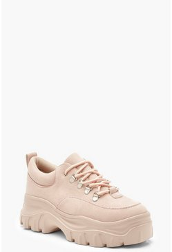 Womens Blush Chunky Lace Up Hiker Trainers