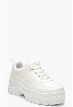 Womens White Chunky Platform Lace Up Sneakers