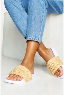 Womens White Woven Raffia Sliders
