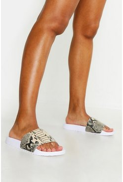 Womens White Snake Print Sliders