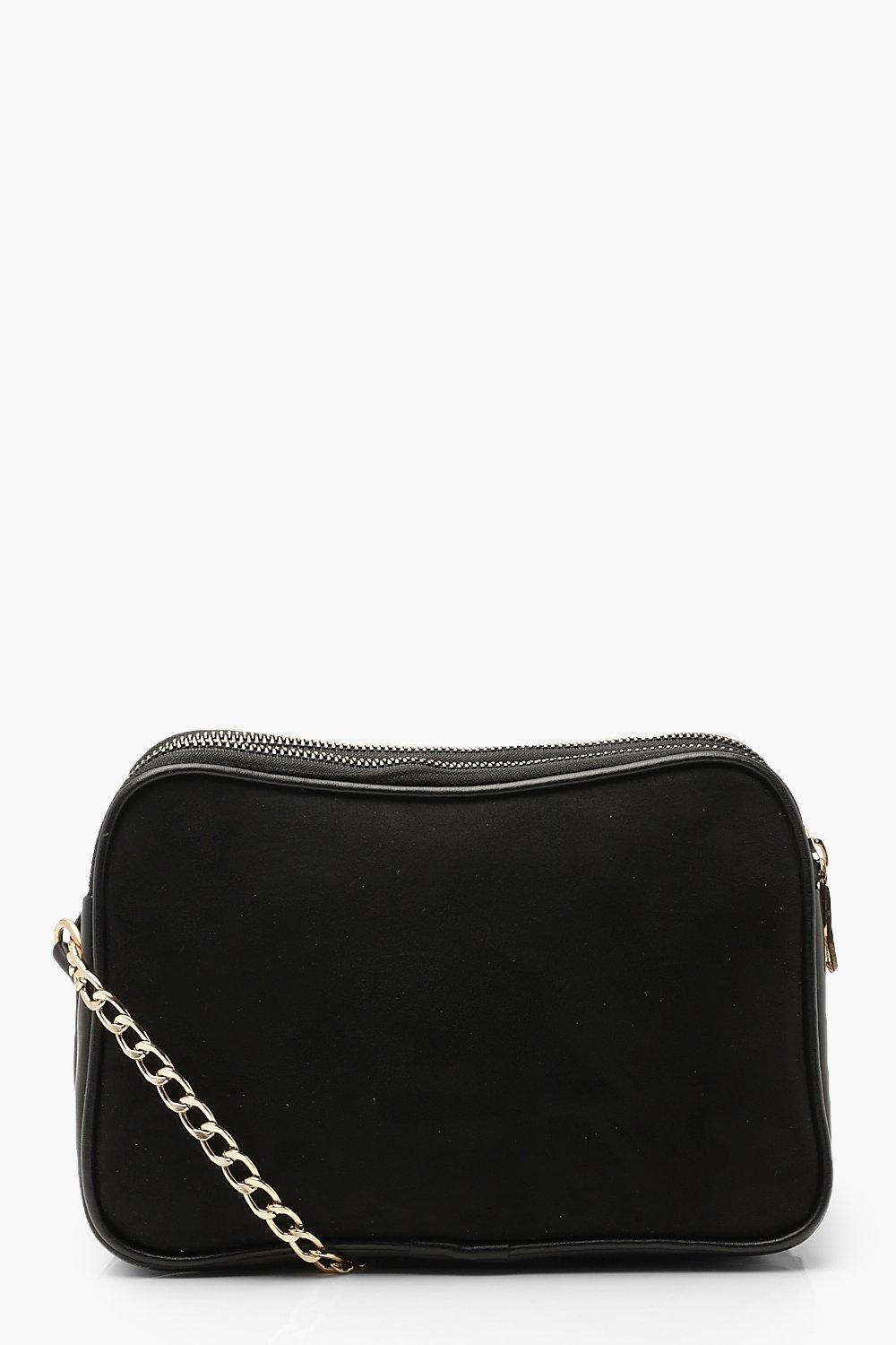 Suedette Dual Compartment Cross Body