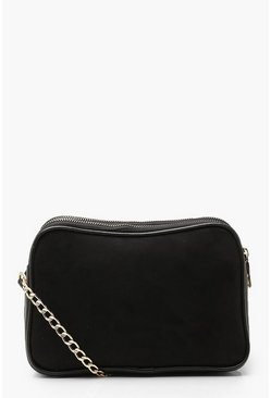 Black Suedette Dual Compartment Cross Body Bag