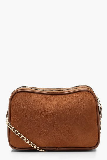 Tan Suedette Dual Compartment Cross Body Bag