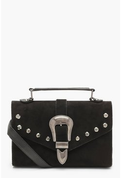 Womens Black Western Buckle Cross Body Bag