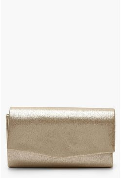 Gold Structured Metallic Clutch Bag & Chain