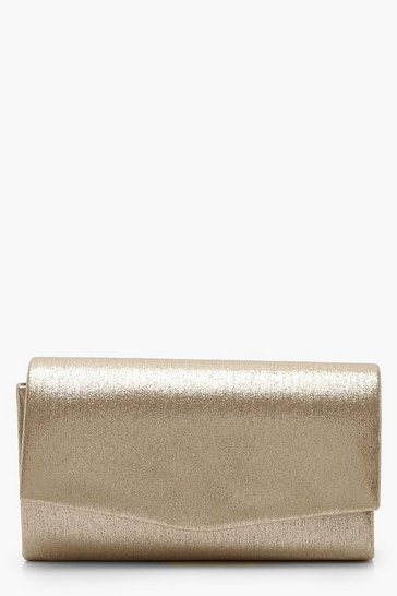 Womens Gold Structured Metallic Clutch Bag & Chain
