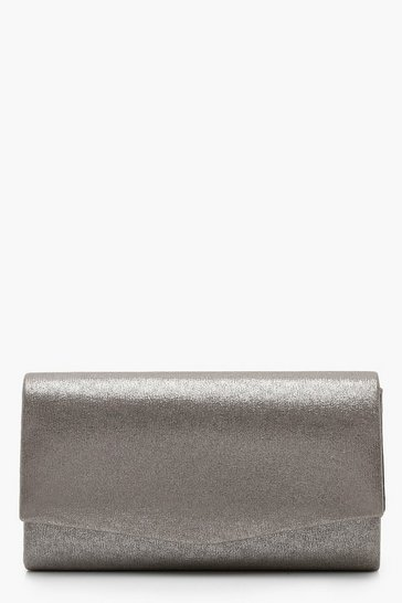 Womens Pewter Structured Metallic Clutch Bag & Chain