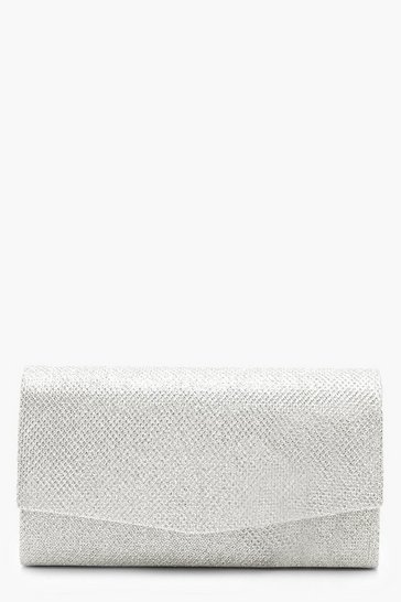Womens Silver Structured Metallic Clutch Bag & Chain