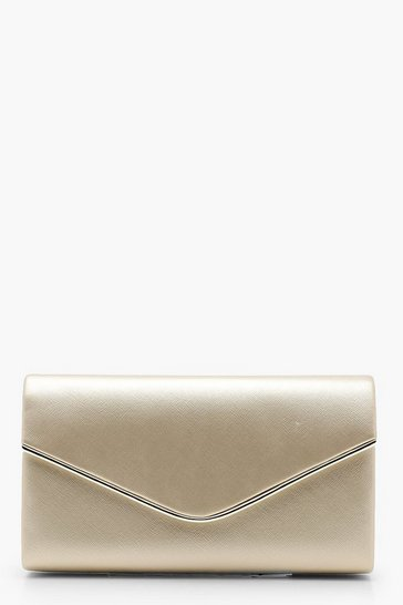 Womens Champagne Crosshatch Piping Trim Envelope Clutch Bag