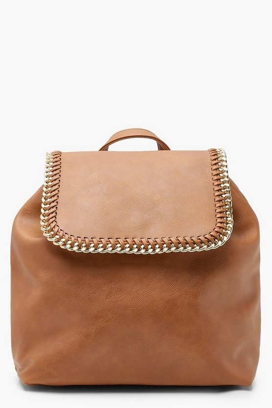 Womens Tan Chain Trim Flap Rucksack