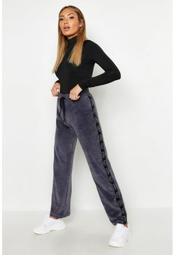 Womens Grey Velour Tape Wide Leg Jogger