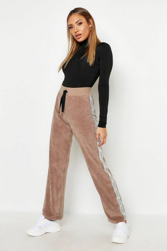 Womens Sand Velour Tape Wide Leg Jogger