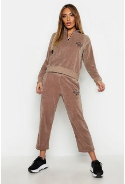 Womens Sand Velour Cropped Woman Jogger