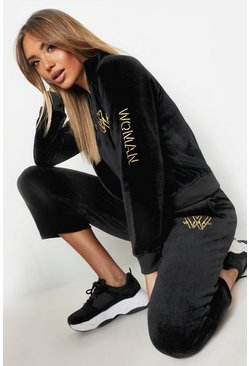 Womens Black High Neck Velour Embroidered Zip Detail Sweat